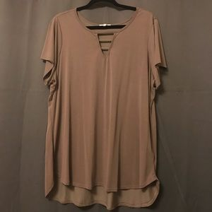 Short Sleeve Blouse with Cut Out Neckline
